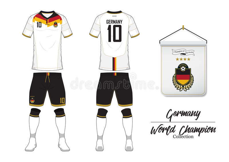 Soccer jersey or football kit. Germany football national team. Football logo with house flag. Front and rear view soccer uniform. Soccer jersey or football kit royalty free illustration