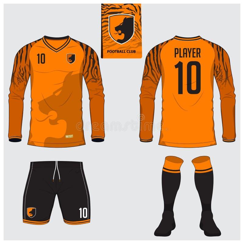 Soccer jersey or football kit, long sleeve, short, sock template. For sport club. Tiger stripes football t-shirt mock up. Front, back view soccer uniform. Flat stock illustration