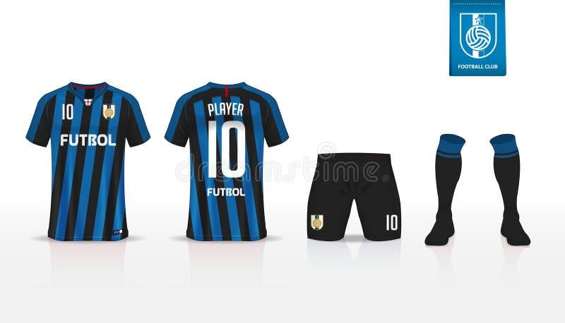 Soccer jersey or football kit t-shirt sport, shorts, sock template design for sport club. Flat football logo on blue label. Soccer jersey or football kit t vector illustration