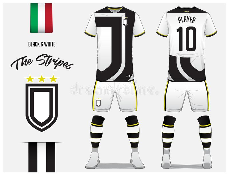 Soccer jersey or football kit template for football club. Black and white stripe football shirt with sock and short mock up. Front and back view soccer uniform vector illustration