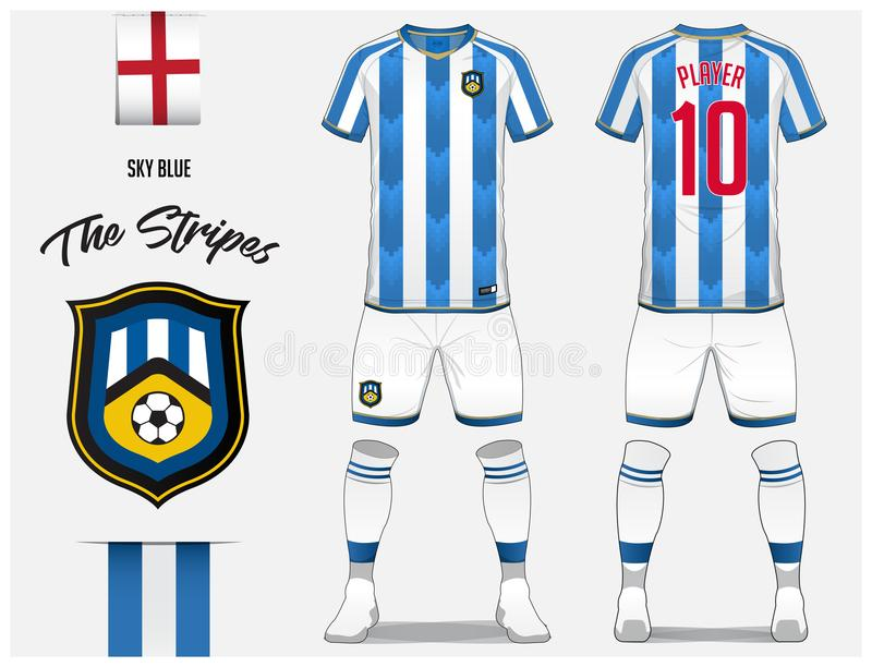 Soccer jersey or football kit template for football club. Blue and white stripe football shirt with sock and short mock up. Front and back view soccer uniform stock illustration