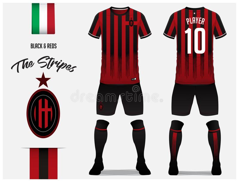 Soccer jersey or football kit template for football club. Red and black stripe football shirt with sock and black pants mock up. Front and back view soccer vector illustration