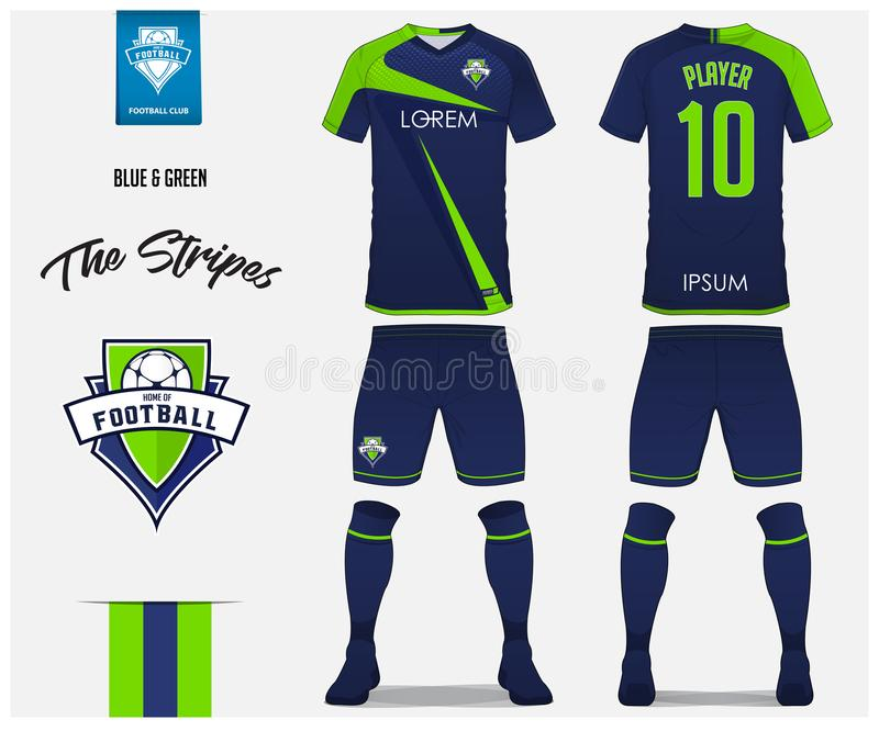 Soccer jersey or football kit template for football club. Blue and green stripe football shirt with sock and blue shorts mock up. Front and back view soccer stock illustration