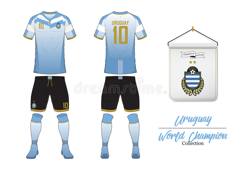 Soccer jersey or football kit. Uruguay football national team. Football logo with house flag. Front and rear view soccer uniform. vector illustration