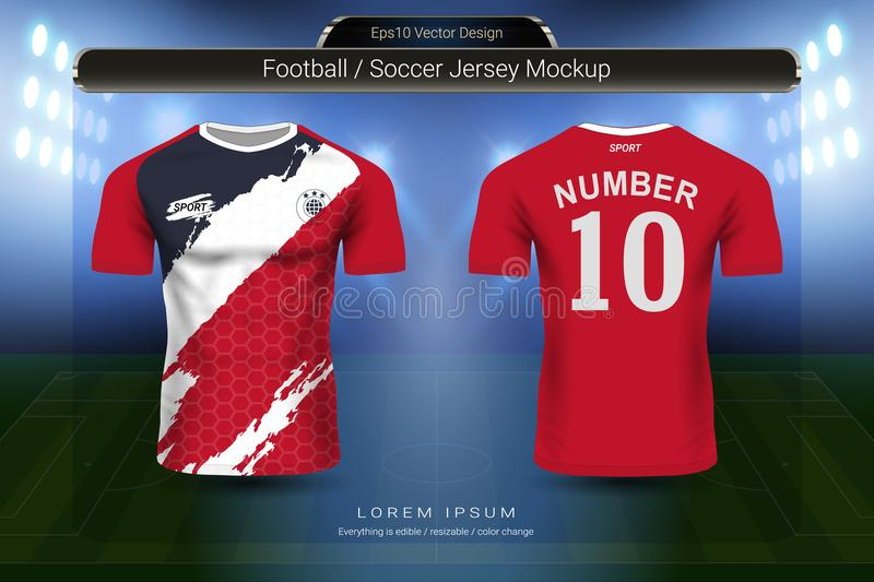 Soccer jersey and t-shirt sport mockup template, Graphic design for football kit or activewear uniforms. Ready for customize logo and name, Easily to change royalty free illustration