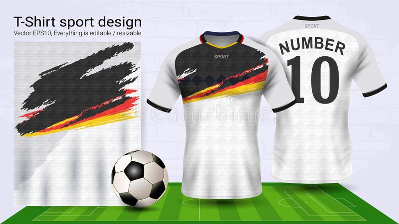 Soccer jersey and t-shirt sport mockup template, Graphic design for football kit or activewear uniforms. Ready for customize logo and name, Easily to change vector illustration