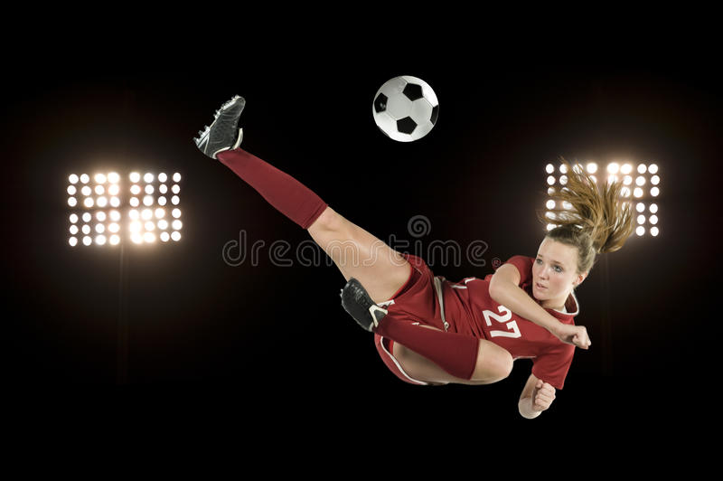 Download Soccer kick with lights stock photo. Image of playing - 13662704