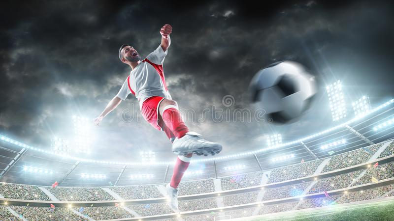 Soccer kick. Professional soccer player in action. Night 3d stadium with fans, illumination and flags. Power of sport stock photography