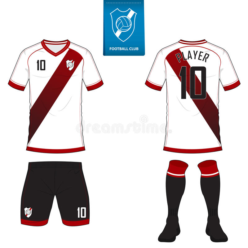 Soccer kit or football jersey template for football club. Short sleeve football shirt mock up. Front and back view soccer uniform. royalty free illustration