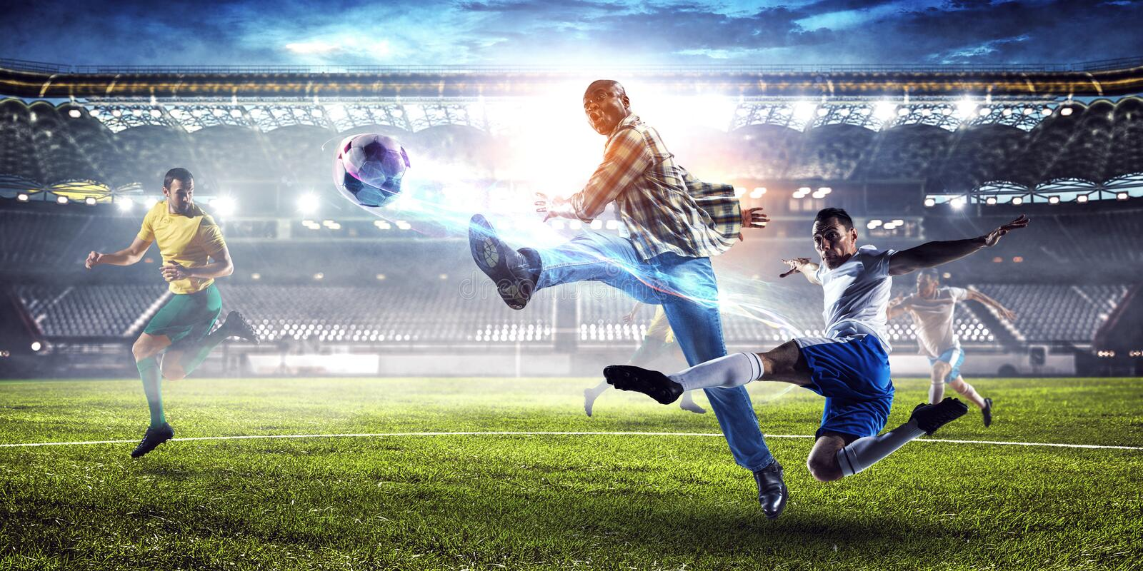 Soccer man in action with ball. Mixed media stock photography