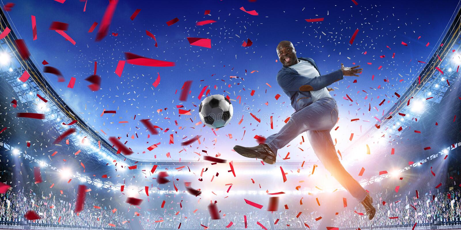 Soccer man in action with ball. Mixed media stock photos