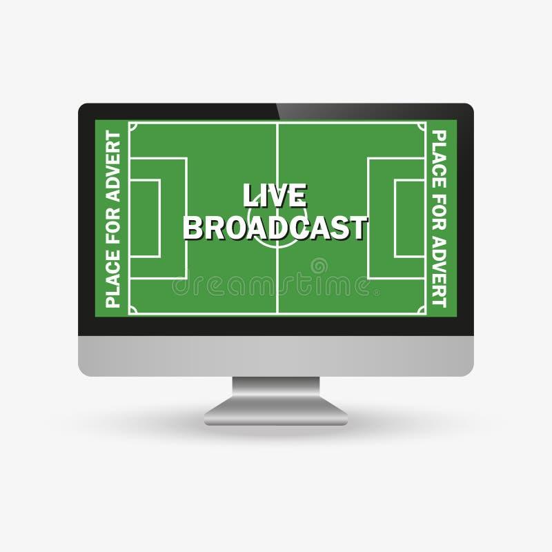 Soccer match on TV set. Playing field on screen. Trendy flat vector illustration stock illustration