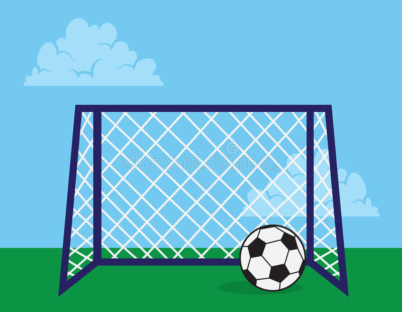 Soccer Net. Outside with soccer ball royalty free illustration