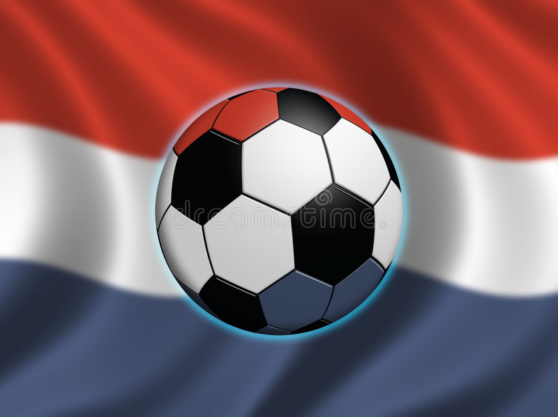 Soccer in the Netherlands. Soccer ball and the flag of the Netherlands (flag out of focus royalty free illustration