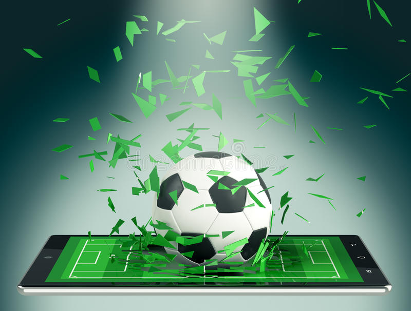 Soccer and new communication technology. Tablet pc with soccer field and a ball coming out by breaking the glass, concept of sport and new communication vector illustration