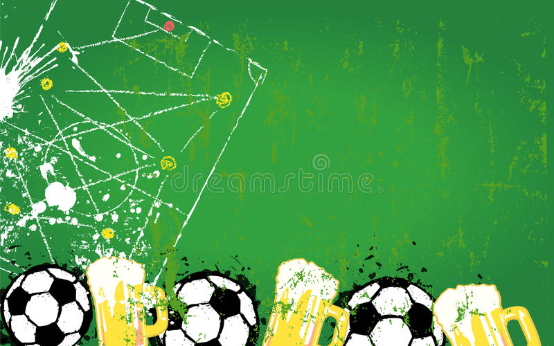 Soccer o. Football design template,. Grungy Soccer o. Football and beer design template, copy space, vector stock illustration
