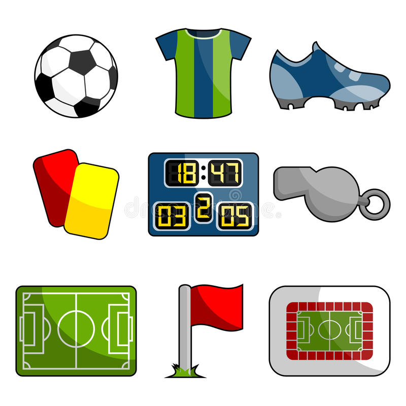 Soccer object icon set