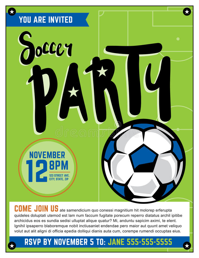 Soccer Party Invitation Template Illustration royalty free illustration