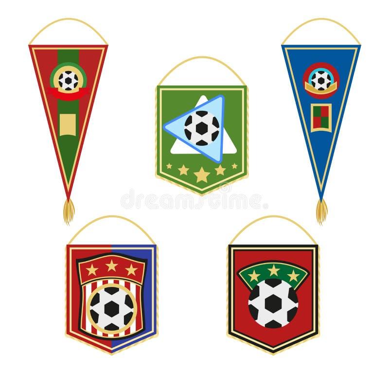 Soccer pennants set. Football flag emblem. Vector illustration in flat style isolated on white background, vector illustration