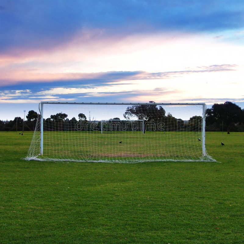 Soccer Pitch. Soccer Goals stock images