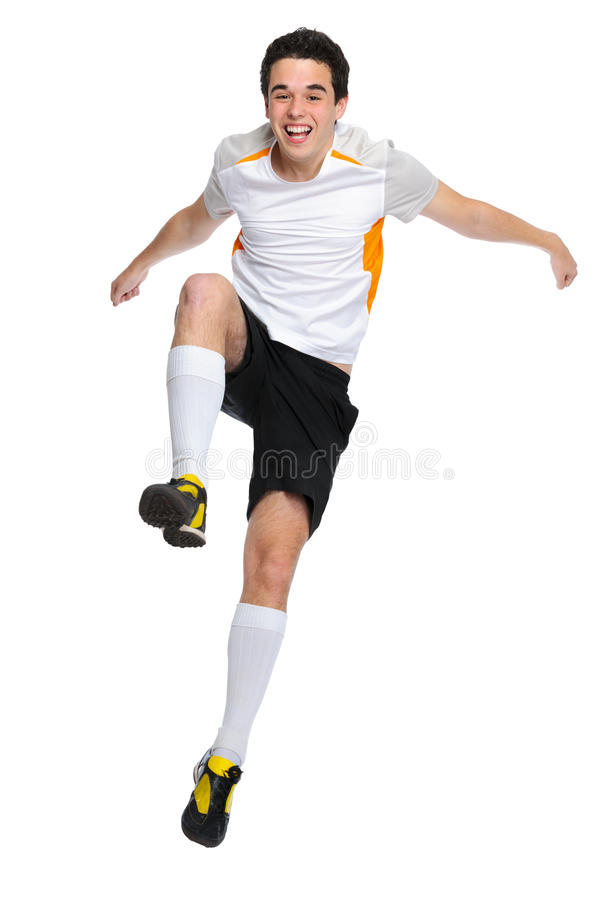 Soccer player. Jumps up and shouts with joy royalty free stock images