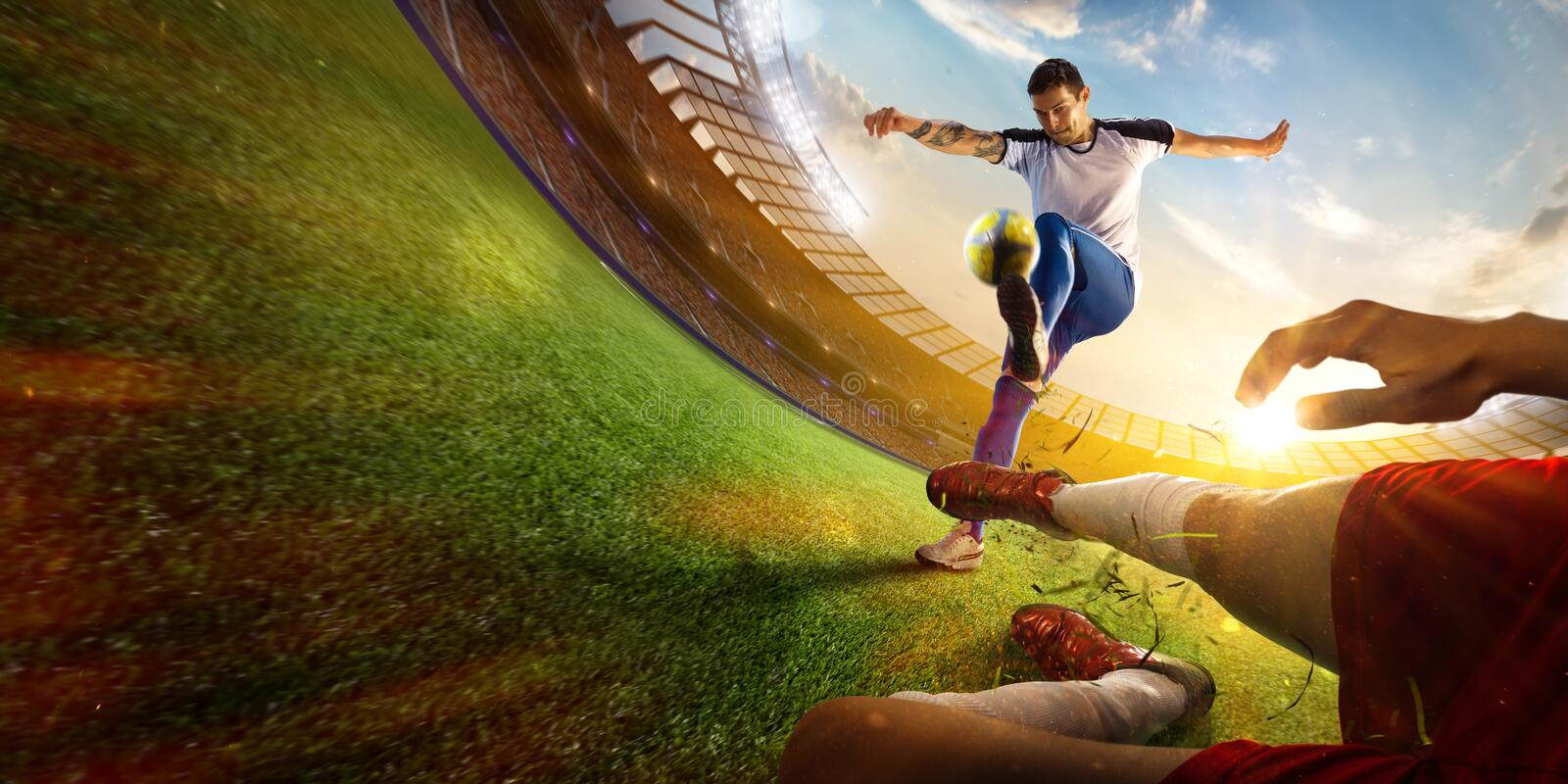 Soccer player in action fish eye first view. Yellow toning stock photography