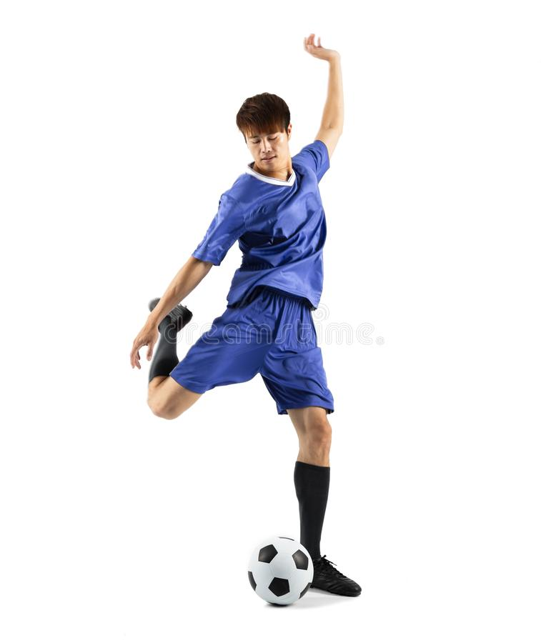 Soccer player in action isolated white background stock photos