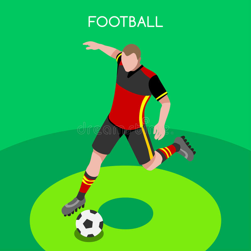 Soccer Player Athlete Olympic Icon Set.3D Isometric Football Player Athlete.Sporting International Competition Championship. stock illustration