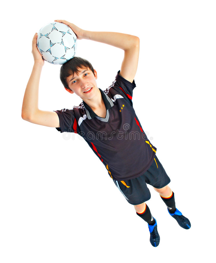 Soccer player with ball royalty free stock photography
