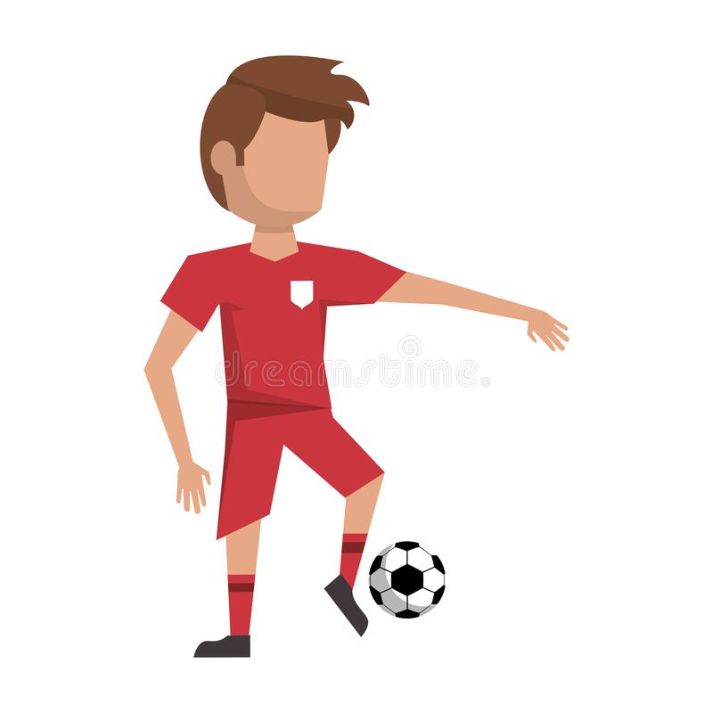 Soccer player with ball avatar royalty free illustration