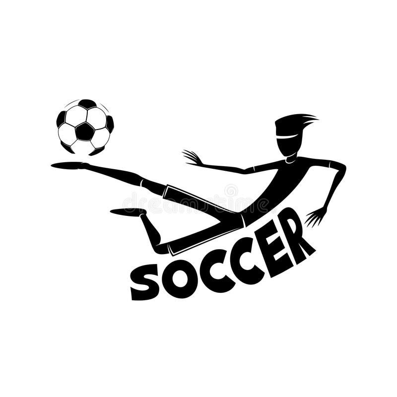 Soccer player with a ball. Soccer player with a ball on a white background stock illustration