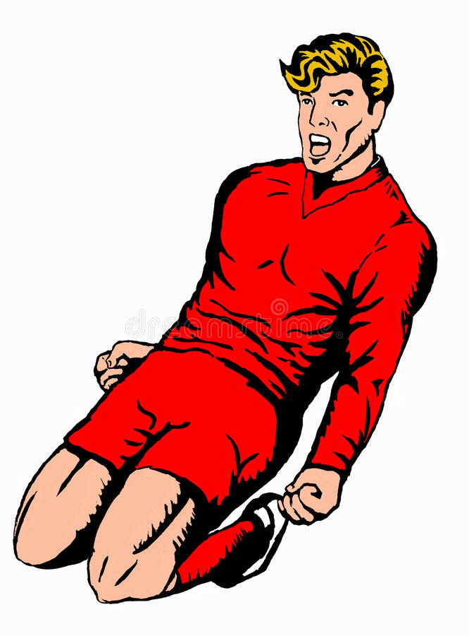 Soccer player celebrating_red royalty free illustration