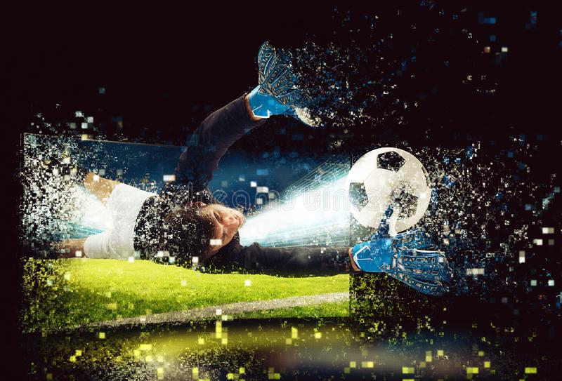 Pixelated image of a goalkeeper who try to catch the ball royalty free stock images