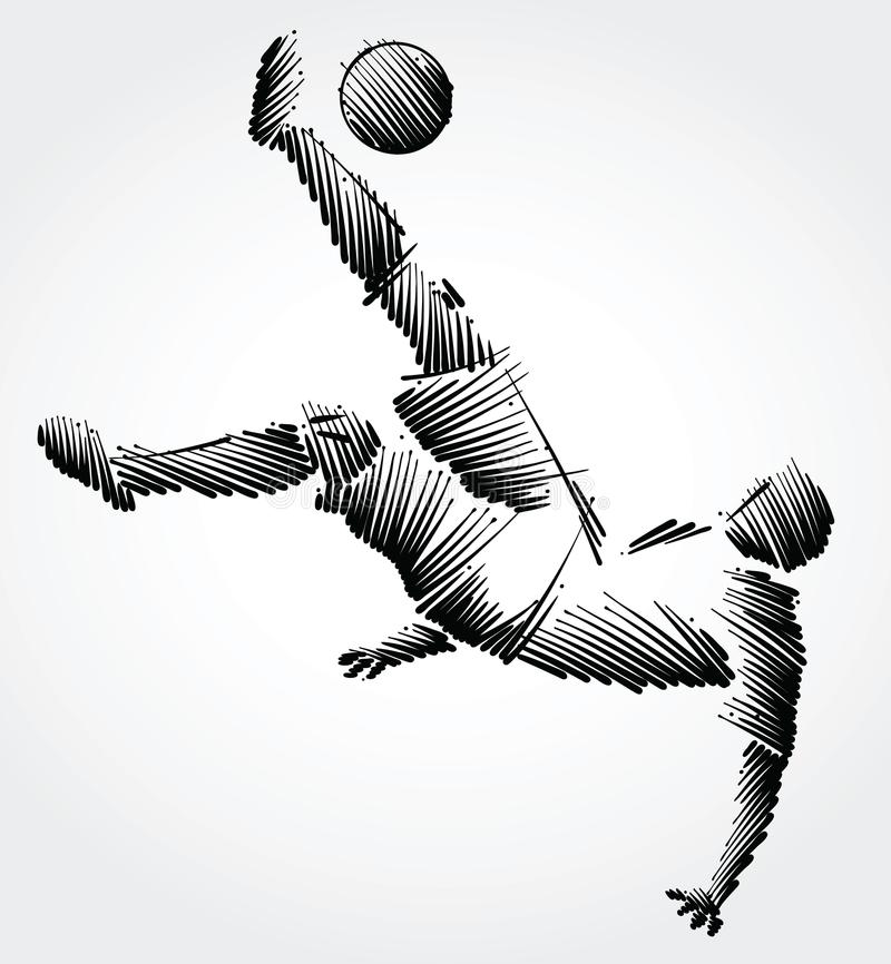 Soccer player falling trying to kick the ball royalty free illustration