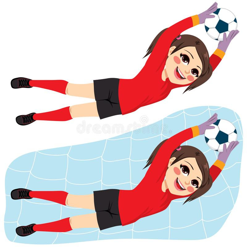 Soccer Player Girl Goal Keeper. Young beautiful brunette happy face expression soccer player girl defending goal keeper net catching ball royalty free illustration