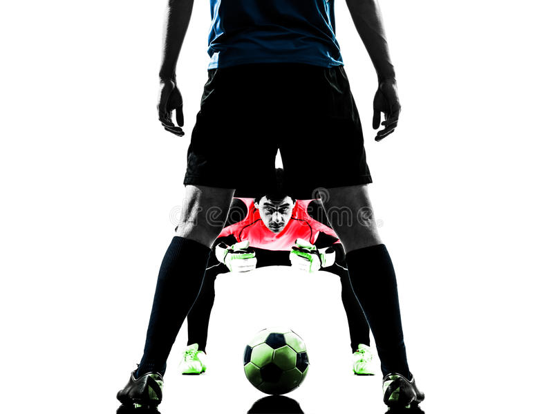 Soccer player goalkeeper competition silhouette. Two caucasian soccer player goalkeeper men face to face competition in silhouette isolated white background royalty free stock photography