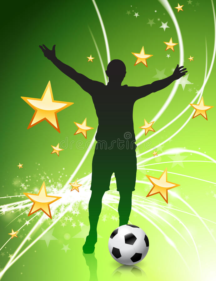 Soccer Player on Green Abstract Light Background stock illustration