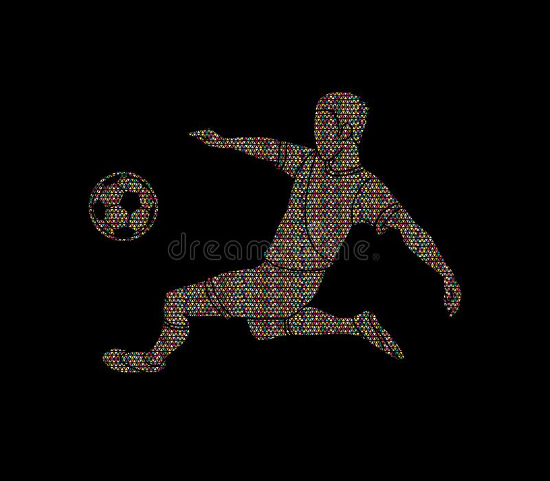 Soccer player hit the ball, Bicycle Kick. Illustration graphic vector stock illustration