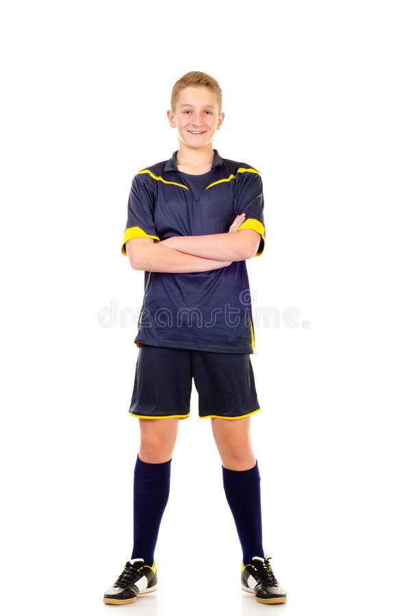 Soccer player. Isolated on a white background royalty free stock image