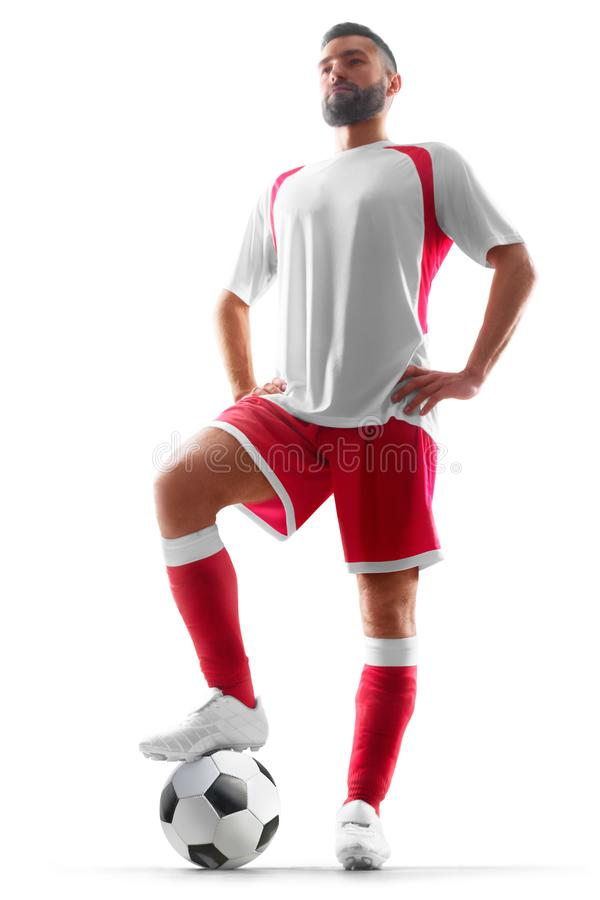 Professional soccer player in isolated on white background stock photo