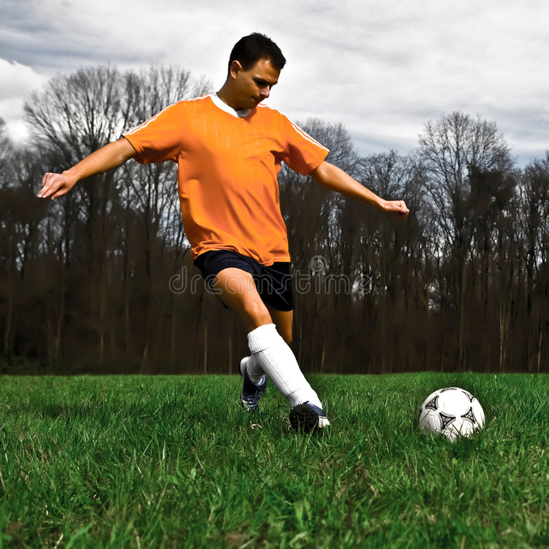 Download Soccer player kicking stock image. Image of background - 4884717