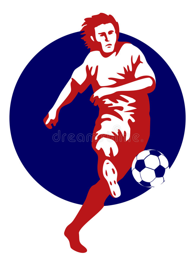 Soccer player kicking ball red stock image