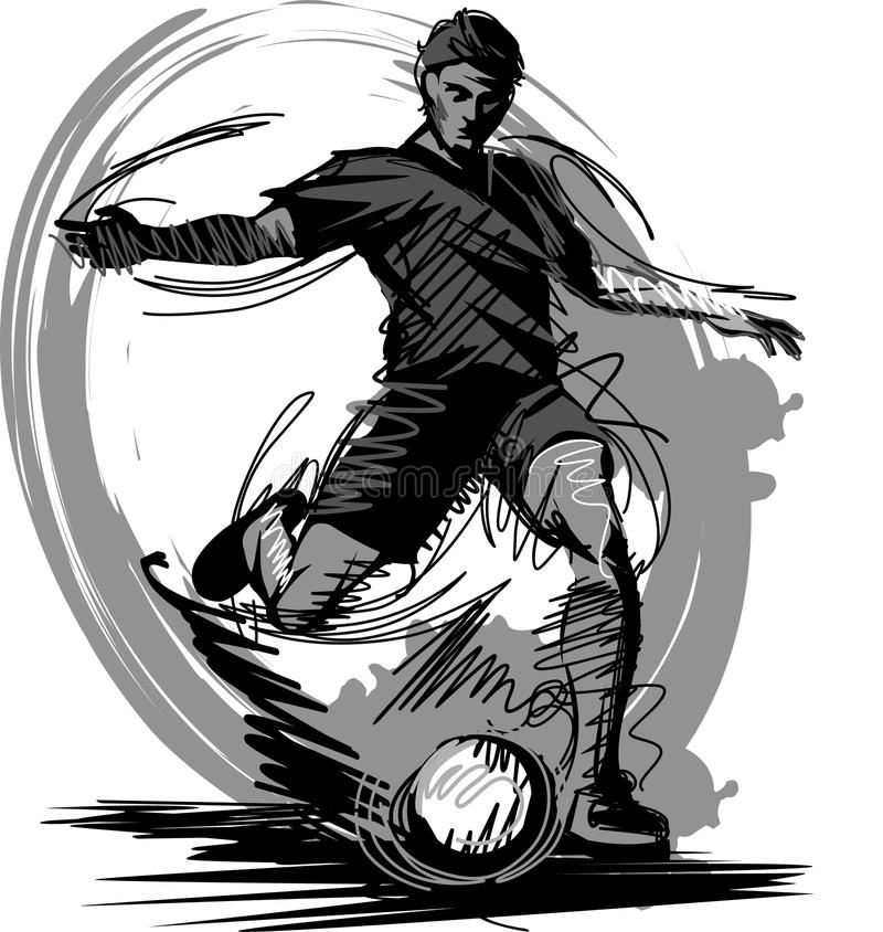 Download Soccer Player Kicking Ball Vector Silhouette Stock Photo - Image: 17341470