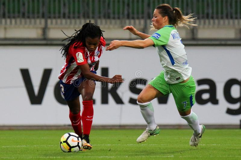 Soccer player, Ludmilla da Silva, in action during UEFA Women`s Champions League royalty free stock photography