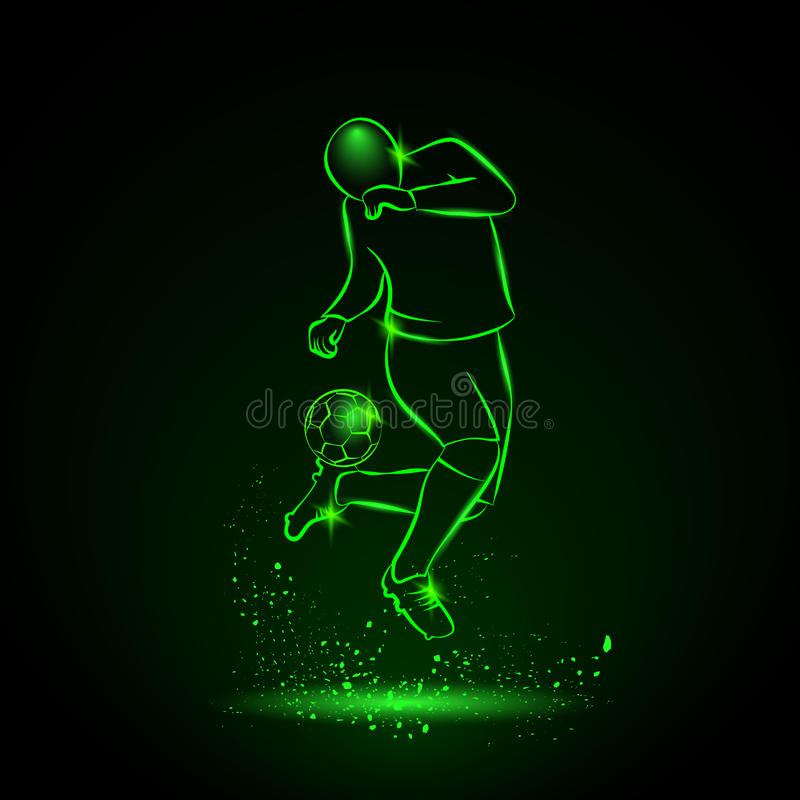 Soccer player makes a feint. Vector sport neon illustration royalty free illustration