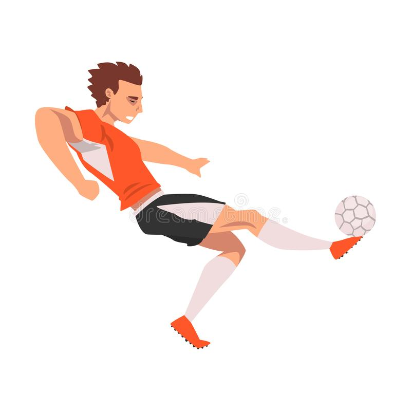 Soccer Player, Male Athlete Character in Sports Uniform, Active Sport Healthy Lifestyle Vector Illustration stock illustration