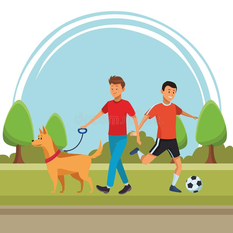 Soccer player and man with dog royalty free illustration