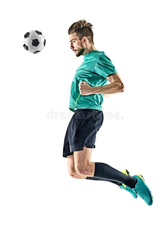Soccer player man heading isolated. One caucasian soccer player man heading isolated on white background royalty free stock photo