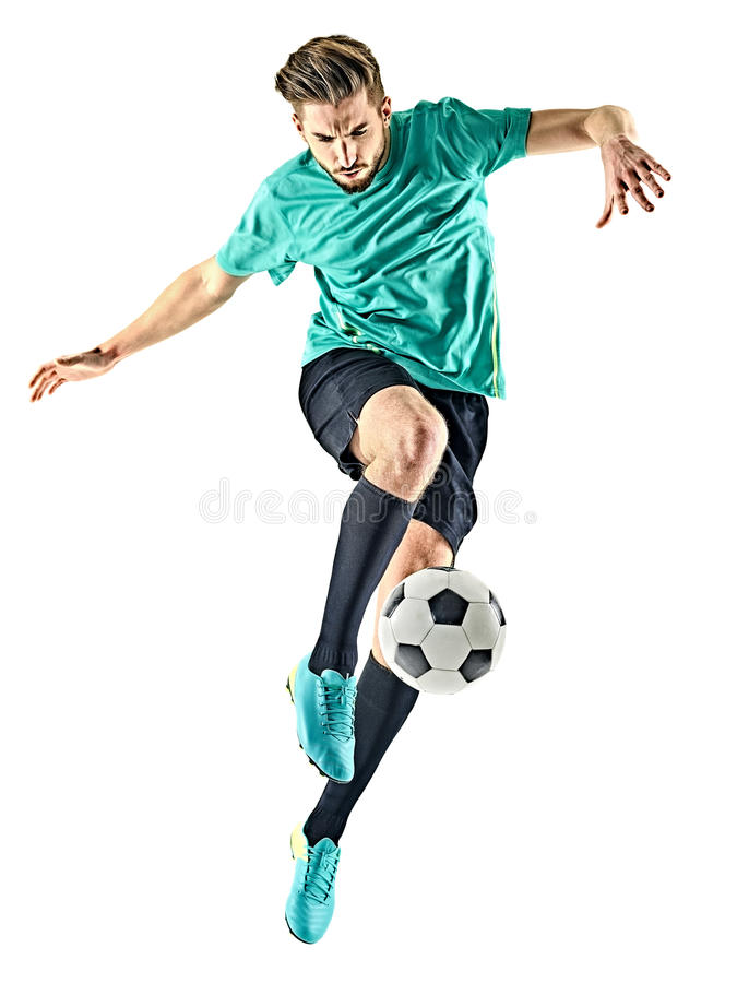 Soccer player man isolated. One caucasian soccer player man isolated on white background stock images