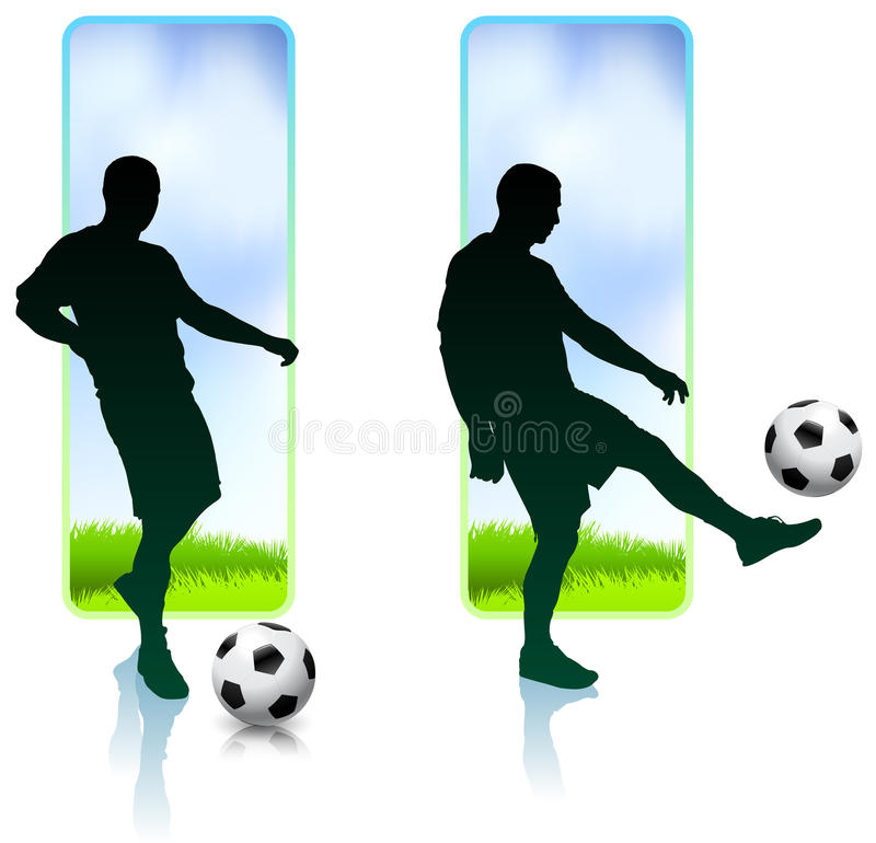 Soccer Player with Nature Banners stock illustration